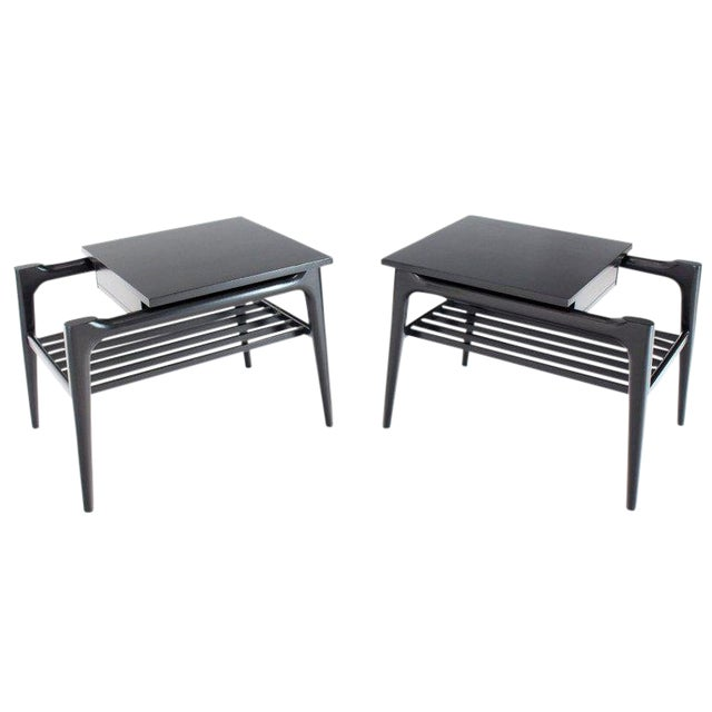 Pair of Black Ebonised One Drawer End Nightstands With Magazine Rack Sculptural For Sale
