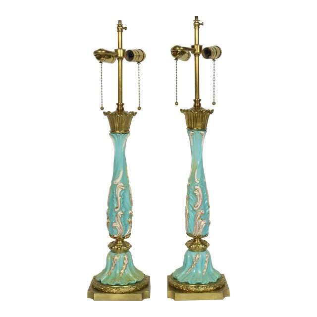 Late 19th Century Turquoise Rococo Table Lamps - a Pair For Sale