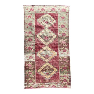 1950s Vintage Hand Knotted Turkish Oushak Rug For Sale