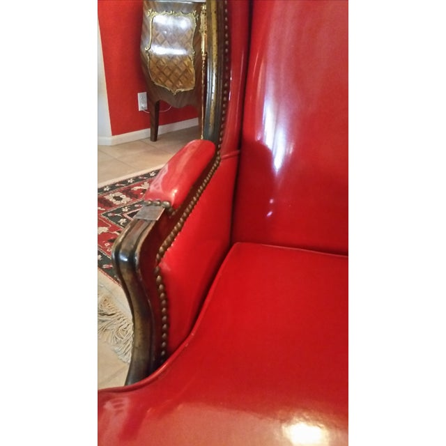 Antique Red Patent Leather Armchair - Image 7 of 11
