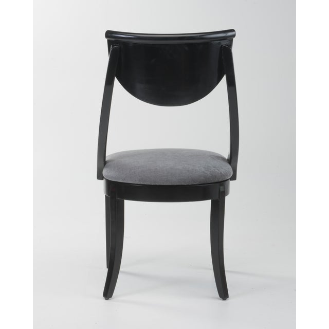 Klismos Dining Chairs Pietro Constantini Ello Black Lacquer Unmarked 1970s a Set of Six For Sale In Philadelphia - Image 6 of 13