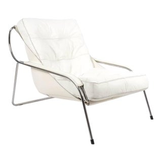 1947 Marco Zanuso Maggiolina White Leather Chair by Zanotta For Sale