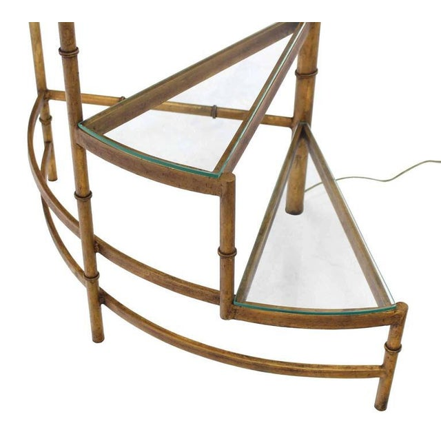 Bamboo Step Shelves Faux Bamboo Gilt Base Floor Lamp For Sale - Image 7 of 9