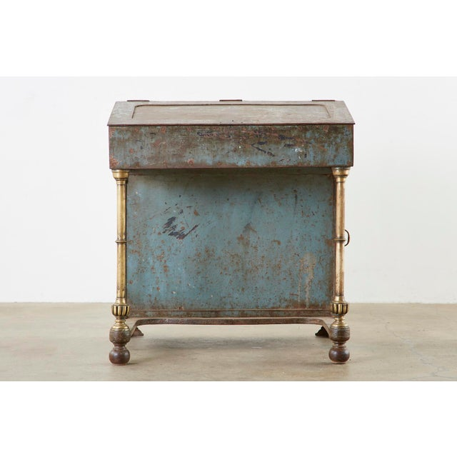 Campaign 19th Century English Iron Bronze Industrial Davenport Desk For Sale - Image 3 of 13