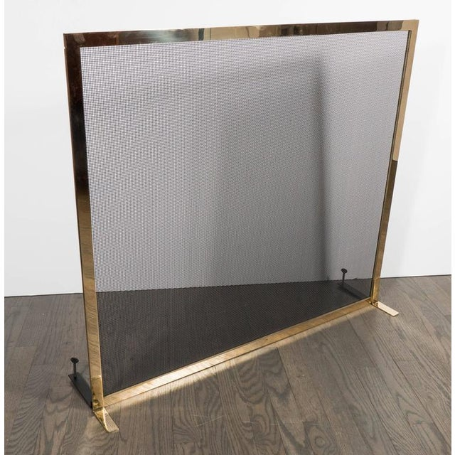 Ultra Chic Custom Minimalist Fire Screen Polished and Lacquered Brass For Sale In New York - Image 6 of 10
