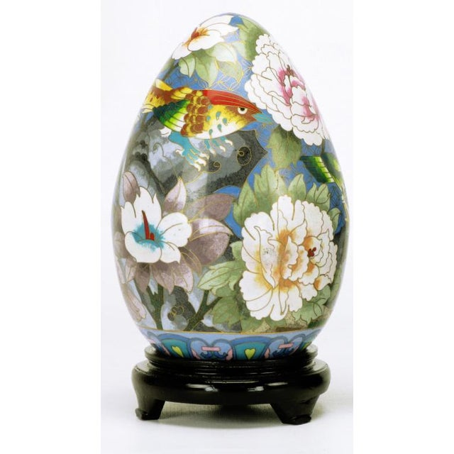 "Pair 11.5"" Colorful Cloisonne Eggs For Sale - Image 4 of 11"