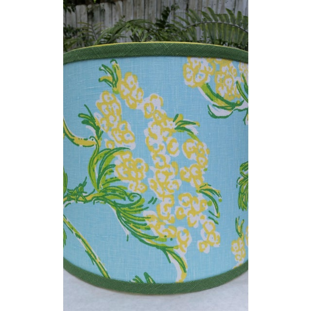 Lilly Pulitzer Fabric Blue Floral Blue Green Yellow Tropical Lampshade For Sale - Image 4 of 12