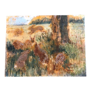Vintage Original Large Impressionist Rabbits in Landscape Painting For Sale