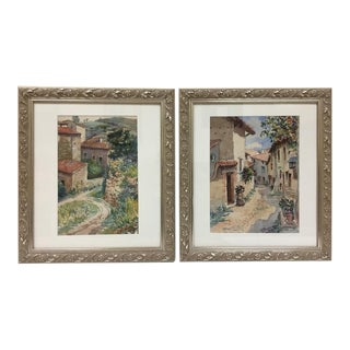 Italian Tuscan Village Scenes Artist Signed Watercolor Paintings, 1949 - A Pair For Sale