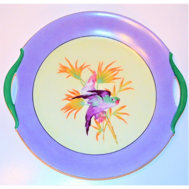 Ceramic Antique Lilac Moschendorf Bavaria Cake Plate With Parrots For Sale - Image 7 of 10