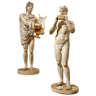 Italian Grand Tour Neoclassical Carved Life-size Statues of Apollo and Marsyas - a Pair For Sale