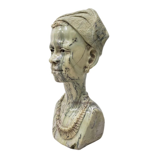 Marble Sculpture of a Young African Woman by Kakweza For Sale