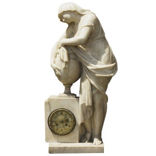 Monumental Early 19th Century Marble Clock From the Collection at Boscobel For Sale