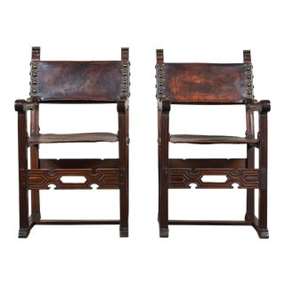 20th C. South American Armchairs W/ Leather Seat & Back - a Pair For Sale