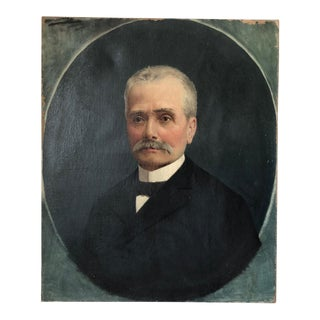 19th C. French Gentleman Portrait Painting by Jules Coulange Laurtrec For Sale
