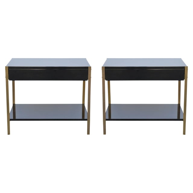 """Contemporary Design Frères """"Laque"""" Black Lacquer and Brass Nightstands - a Pair For Sale"""