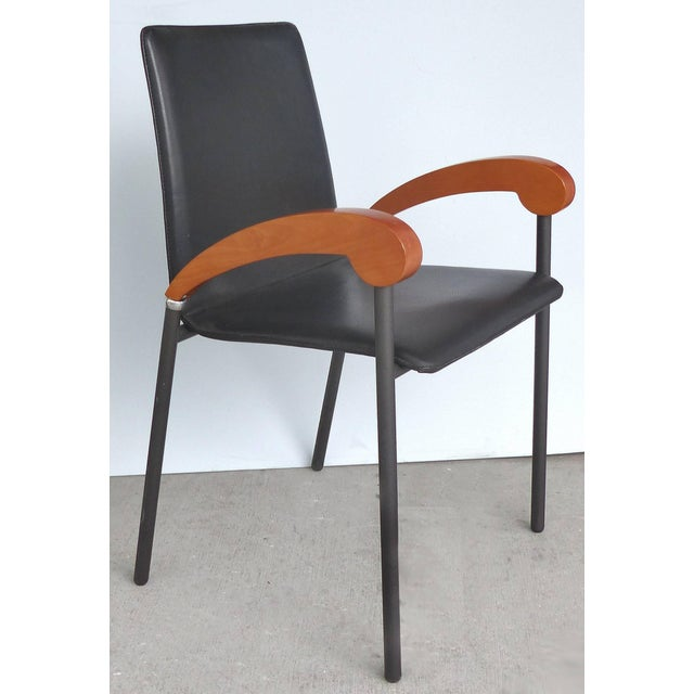 Xo Design Metal and Wood Armchairs With Full Grain Leather Seats For Sale In Miami - Image 6 of 9