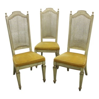 Late 20th Century Vintage Stanley Furniture French Provincial Cane Back Side Chairs- Set of 3 For Sale
