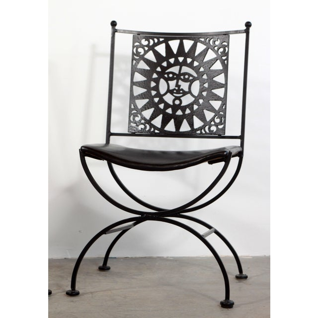 1950s Mid Century Modern Arthur Umanoff Mayan Sun Cast Iron Chairs - a Pair For Sale In Providence - Image 6 of 13