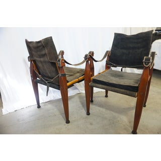 Vintage Authentic Models Bridle Leather Safari Chairs- a Pair Preview