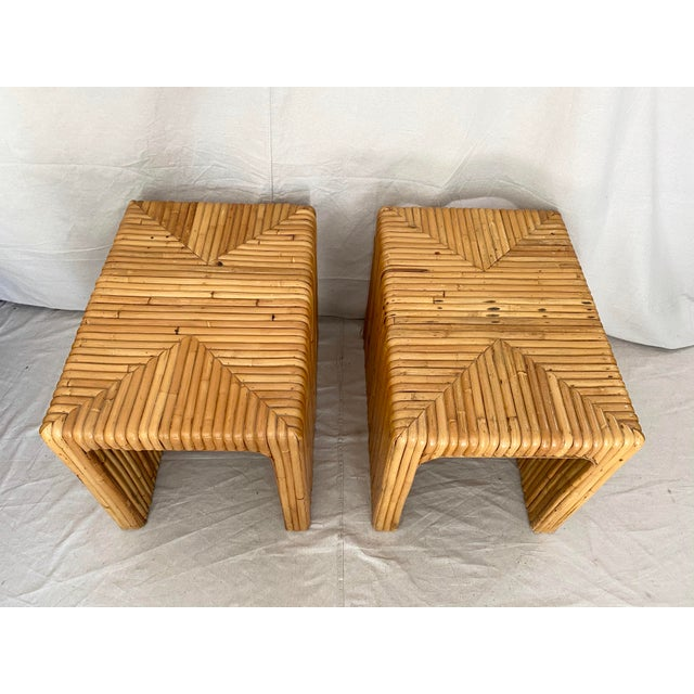 Late 20th Century Vintage Split Reed Rattan Waterfall End Tables- a Pair For Sale - Image 5 of 13