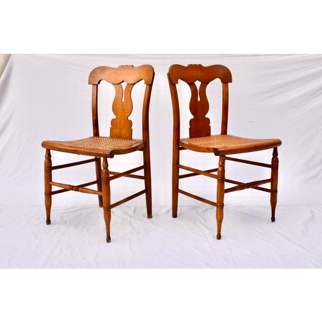 Federal Antique Caned Federal Dining Chairs, Set of Eight For Sale - Image 3 of 10