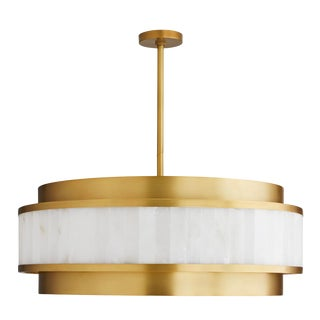 Arteriors Modern White Marble and Brass Finish Utterson Chandelier For Sale