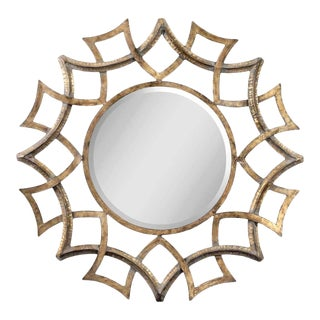 Round Gold Metal Mirror For Sale