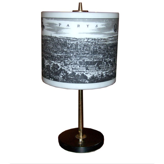 French Table Lamp With Painted Glass Shade For Sale In Los Angeles - Image 6 of 6