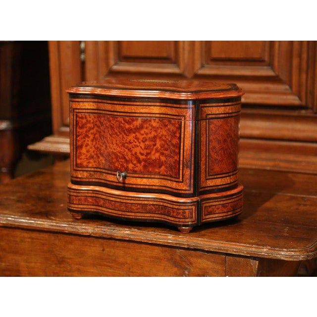 Brass Important 19th Century French Napoleon III Walnut & Burl Cave a Liqueur Tantalus For Sale - Image 7 of 11