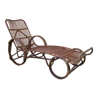1960s Vintage Franco Albini Style Rattan Chaise For Sale