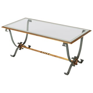 French Vintage Iron and Glass Coffee Table For Sale