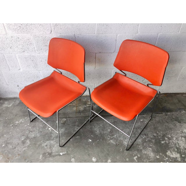 Mid-Century Modern Vintage Mid Century Modern Matrix Krueger Stackable Chairs- Set of Two. For Sale - Image 3 of 13