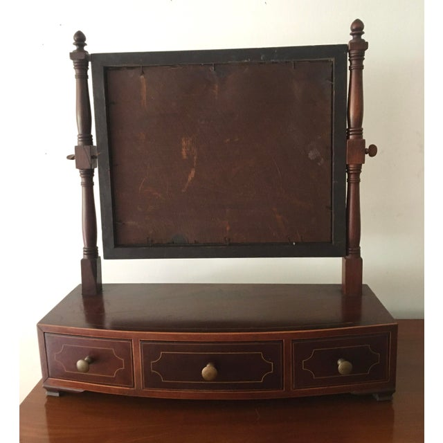 Metal 1800-1810 Antique Federal Mahogany Bow Front Dressing Glass For Sale - Image 7 of 11