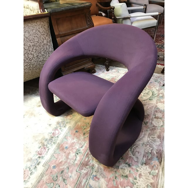1980s Mid Century Modern Jaymar Memphis Sculptural Cantilever Lounge and Ottoman in Purple Fabric For Sale - Image 5 of 13