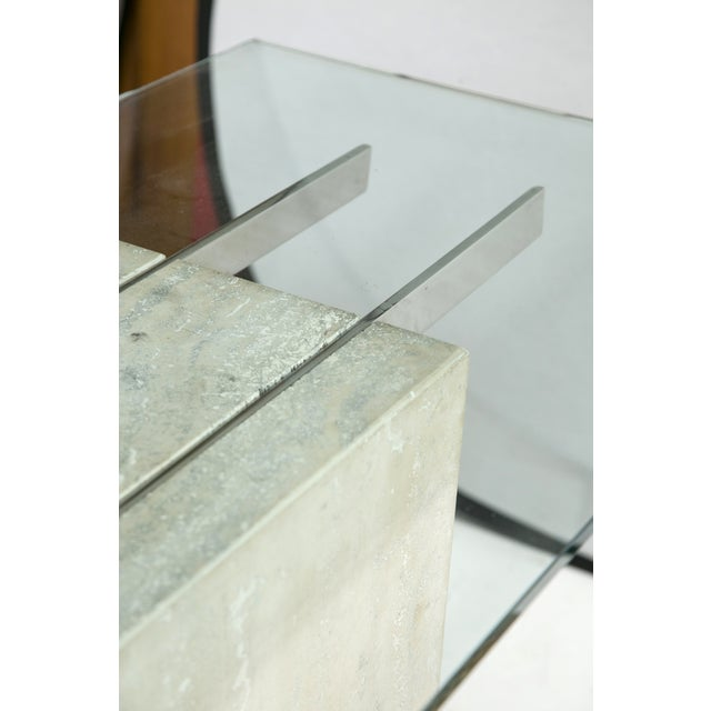 Travertine and Chrome Console Table by Ello - Image 8 of 9