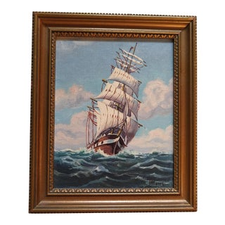 "Early 20th Century Harry Hambro Howe ""Levi Woodbury"" Ship Oil Painting For Sale"