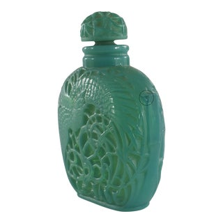 French Art Deco Green Glass Perfume Bottle For Sale