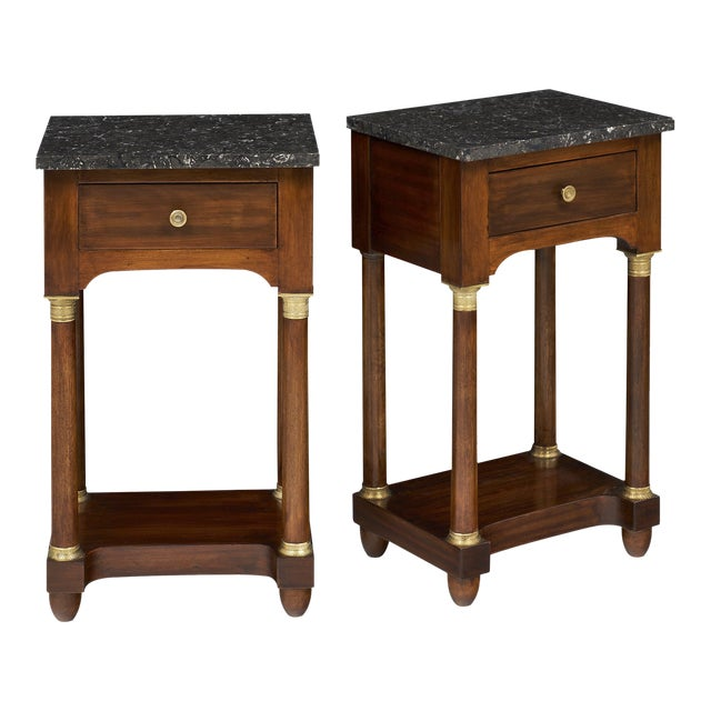 Empire Style Marble Top Side Tables- A Pair - Image 1 of 10