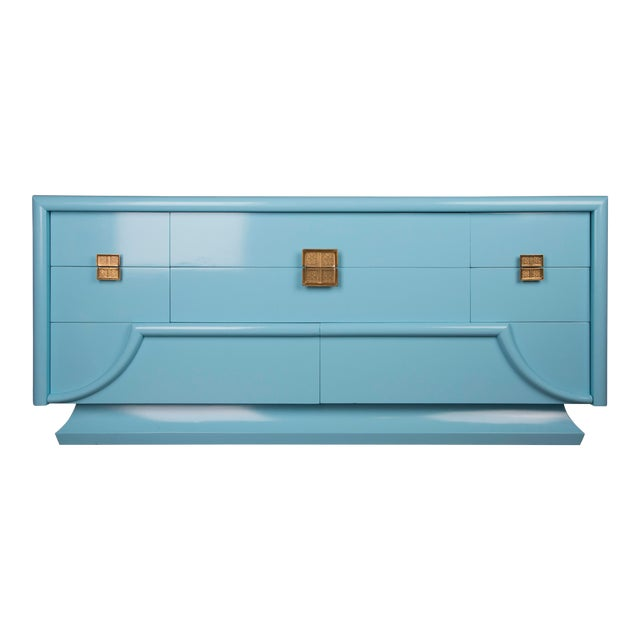 1940's Blue Lacquered Art Deco Chinoiserie Dresser For Sale