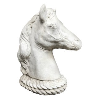 Vintage Large English Horse Head Garden Statuary For Sale