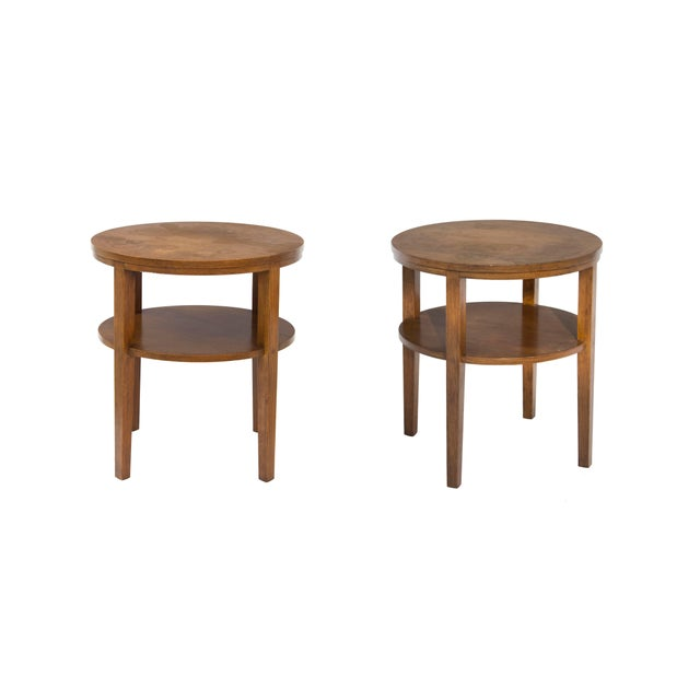 Round Combed Oak End Tables by Grand Rapids Bookcase & Chair For Sale - Image 11 of 11
