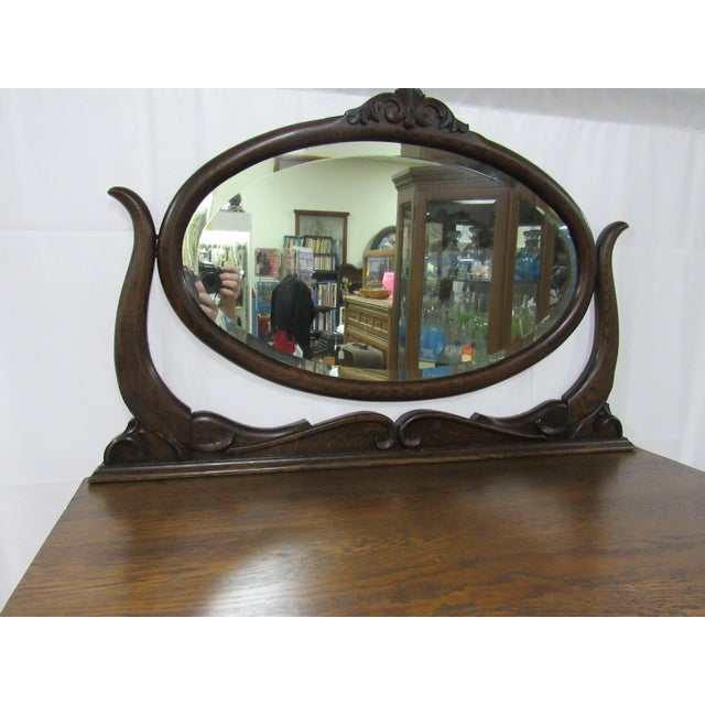 1900 - 1909 1900s Traditional Oak Highboy Dresser With Mirror For Sale - Image 5 of 12