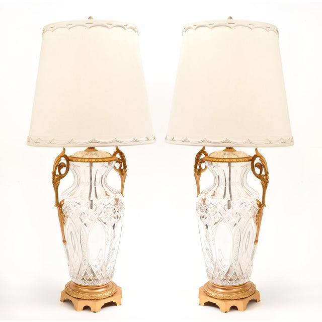Large Bronze-Mounted / Cut Crystal Table Lamps - a Pair For Sale - Image 10 of 11