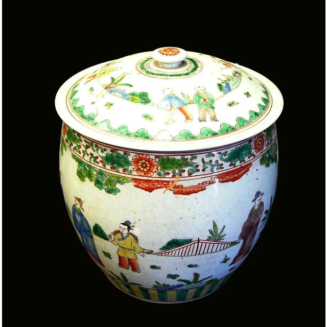 Asian Chinese Porcelain Color People Gathering Scenery Pot For Sale - Image 3 of 7