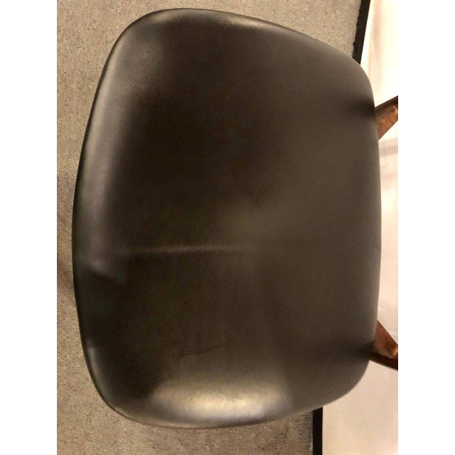 Wood Set of Four Mid-Century Modern Slat Back Black Leather Side Chairs For Sale - Image 7 of 9