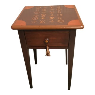 20th Century Shabby Chic LV Logo Painted Side Table