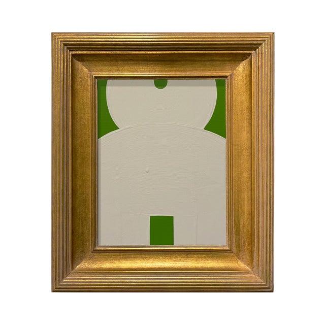 Ron Giusti Mini Kokeshi Doll Head Kelly Green and Cream Acrylic Painting, Framed For Sale - Image 4 of 4