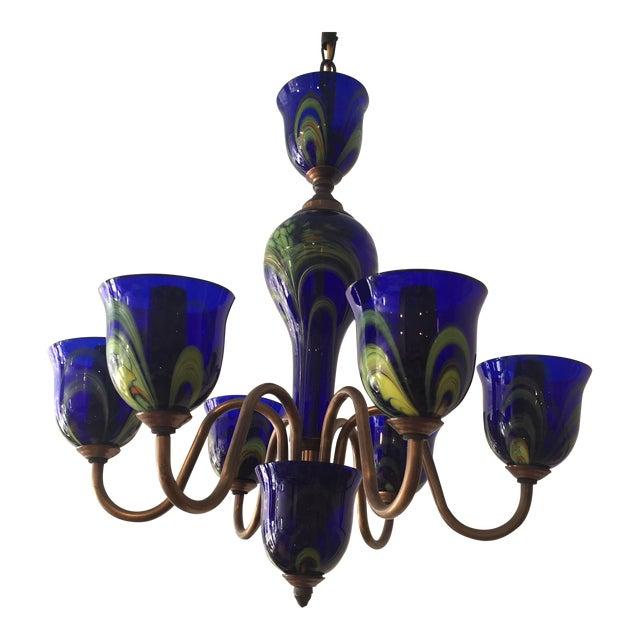 Vintage cobalt blue prague glass chandelier chairish vintage cobalt blue prague glass chandelier aloadofball Images