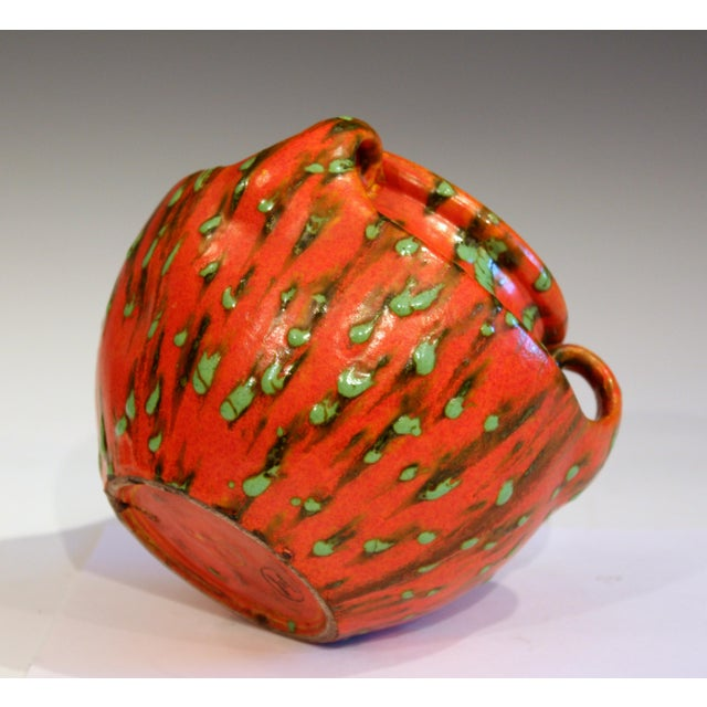 1930s Awaji Pottery Green Spotted Chrome Orange Signed Studio Vase For Sale - Image 5 of 10